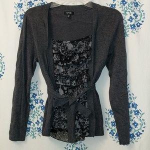 Gray & Black Blouse Cardigan Combo w Belt Size PM